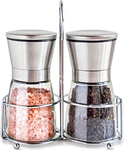 Salt and Pepper Grinder Set with Matching Stand - Stainless Steel Salt and Pepper Shakers with Glass Body and Adjustable Ceramic Mill - Set of 2 (Ceramic Sea Salt Grinder compare prices)