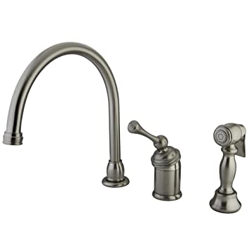 Kingston Brass KB3818BLBS Buckingham Kitchen Faucet with Brass Sprayer, 8-3/4-Inch, Satin Nickel