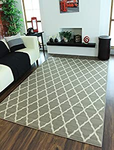 Milan Soft Touch Classic Grey Trellis Print Rug 1799-H22 - 5 Sizes from The Rug House
