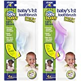 Baby Buddy Baby's 1st Toothbrush, Pink-Clear (Pack of 2)