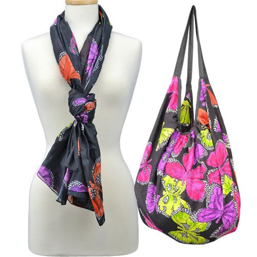 Red Carpet Studios Hobo Bag with Matching Scarf, Butterfly Black