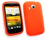Emartbuy® Value Pack For HTC Desire C LCD Screen Protector + Silicon Skin Cover/Case Orange + Compatible Micro USB Car Charger
