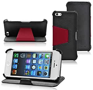 "Ionic CONVENIENCE Wallet Leather Case with Stand for ""The new iPhone"" new Apple iPhone 5 6th Generation 5G (AT&T, T-Mobile, Sprint, Verizon) (Black-Brown) [Doesn't fit iPhone 4/ iPhone 4S]"