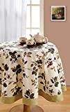 Swayam Libra 4-Seater Cotton Round Table Cover - Beige