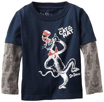Dr. Seuss Little Boys' Cat Heads Print Slider Sleeves Tee, Blue, 2T