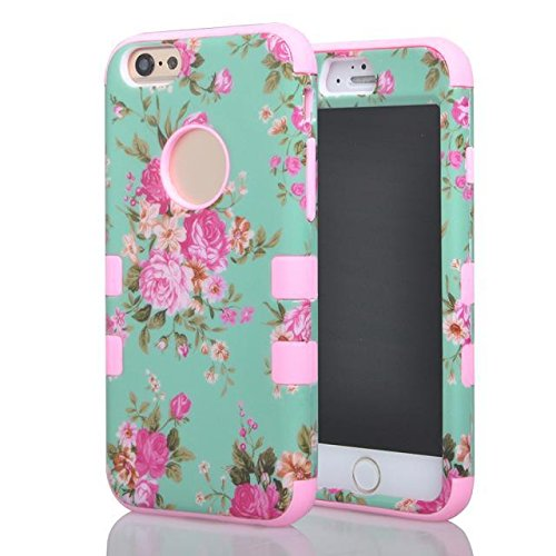 """(Case for Apple iPhone 6/4.7 inches) Bon Venu Pastorale Plant flowers printing Glossy Style 3in1 Armor Defender Triple Layer Hybrid Camo Hybrid Rubberize Soft TPU Back Skin Protective Case Cover Beautiful Orchid Pattern Skin Protector Case Cover for Apple iPhone 6/4.7"""" case+Screen Protector (Pink)"""
