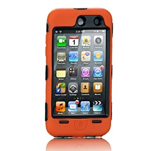 NTK Premium For iTouch iPod Touch 4 4G Silicone Case with Hard Shell Inside Case With Built In Touch Screen Protector Film 2 Layer Case -Orange