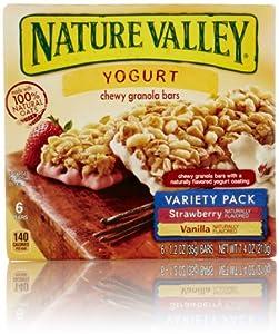 Nature Valley Chewy Yogurt Granola Bars Variety Pack, Vanilla and Strawberry, 6 Count