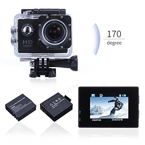Waterproof-Sports-Action-Camera-Canany-CY4000-Underwater-video-Camera-Full-HD-1080P-12MP-With-Free-Accessories-Kit-and-2-Batteries-Black