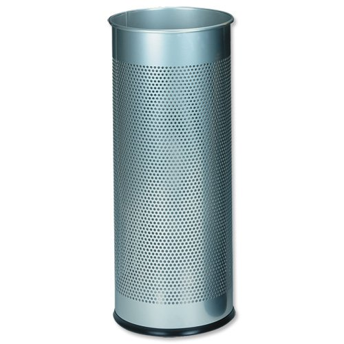 Atlanta Umbrella Stand Tubular Metal Perforated 28.5 Litres Silver Ref A2900-02618
