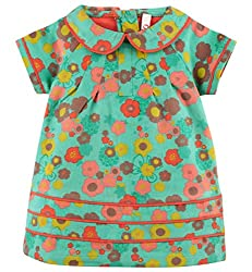 Oye Infant Girls Dress With Contrast Piping - Green (18-24M)
