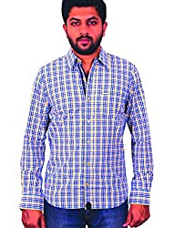 Being hearted men's Checked Casual Shirt CHKD3CLRYLLW_Yellow_M