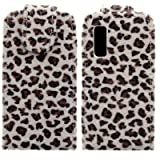 Wayzon Organic PU Leather Flip Case Cover Skin Pouch Shell Holster Built In Hard Plastic Holder Housing Brown Furry Leopard Design For Samsung S5230 Star Tocco Lite Phone
