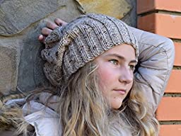 Womens Slouchy beanie Women hat slouch hat Womens knitted hat Fall beanie Hipster hat hippie hat Gray or Beige beanie Woman hat women gift Hippie beanie Gift for her Womens gift