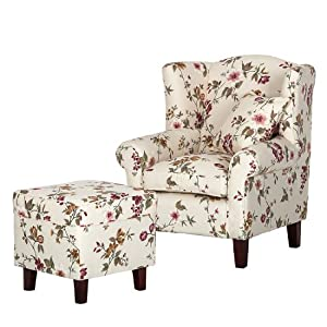 fredriks red rose fauteuil oreilles en tissu avec tabouret beige motif fleuri. Black Bedroom Furniture Sets. Home Design Ideas