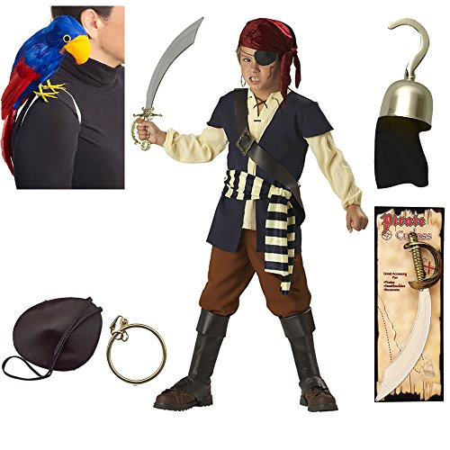 Pirate Mate Child Costume, Patch, Hook, Parrot, Earring, Pirate Cutlass, Size 10