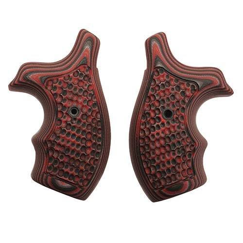 Hogue S&W J Frame Round Butt Grip (Bantam Piranha G-10 G-Mascus), Red Lava