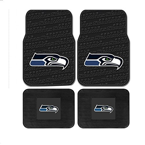 NFL Seattle Seahawks Car Heavy Duty Floor Mats 4-Piece Set - Front and Rear (Car Seat Covers Seahawks compare prices)