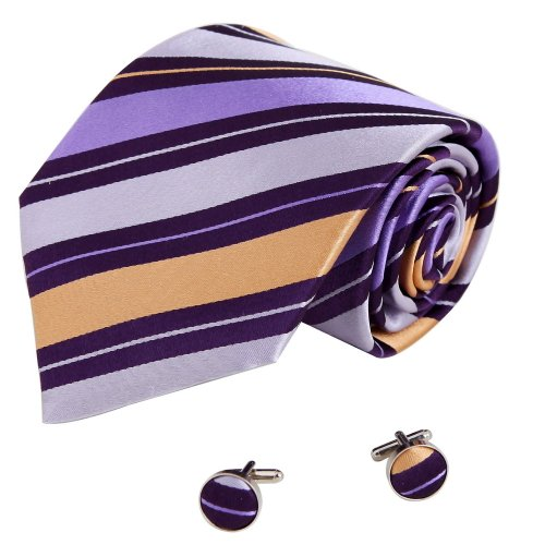 A1138 Indigo Blue Stripes Internet Gift Idea Mens Discount For Wedding Silk Tie Cufflinks Set 2PT By Y&G