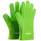 NEW 2016 Oven Mitts Gloves Resistant MAX Heat Silicone BBQ Grilling Gloves for Cooking Baking Barbecue Potholder-Green