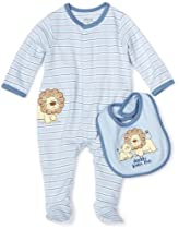 Little Me Baby-boys Newborn Lovable Lion Footie and Bib, Light Blue Stripe, Newborn