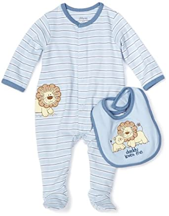 Little Me Baby-boys Newborn Lovable Lion Footie and Bib, Light Blue Stripe, Newborn