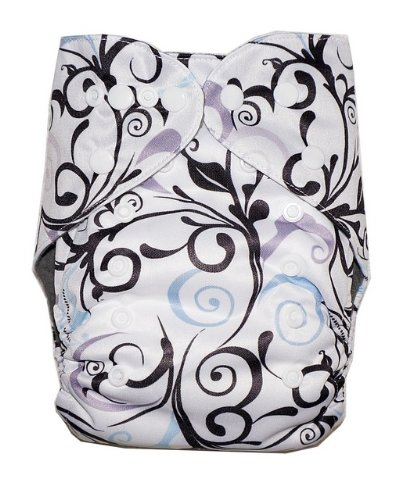 Kerrbear Kids - Black Ivy Cloth Diaper (Charcoal Bamboo Insert And Inner)