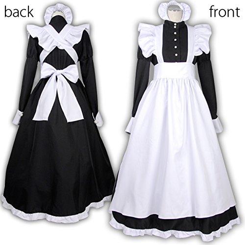 英国風 メイド服 クラシックスタイル 衣装4点セット (ワンピース エプロン カチューシャ グローブ) ブラック レディース Mサイズ