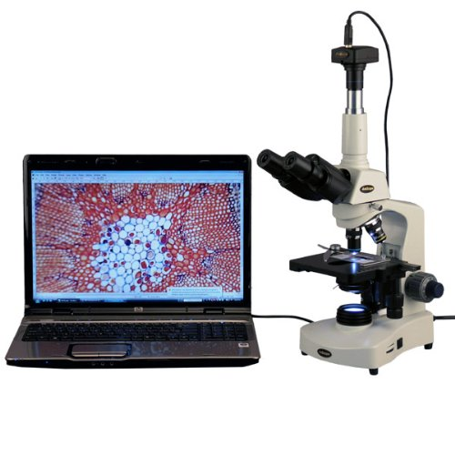 AmScope-T340B-LED-10M-Digital-Siedentopf-Trinocular-Compound-Microscope-40X-2000X-Magnification-Brightfield-WF10x-and-WF20x-Eyepieces-LED-Illumination-Abbe-Condenser-Double-Layer-Mechanical-Stage-Incl