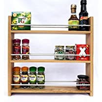 Solid Oak Spice Rack - Holds Up To 27 Spice and Herb Jars - Deep Capacity for Larger Jars and Bottles