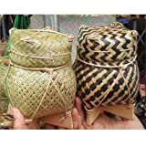 Handmade Bamboo container for cooked glutinous rice with lid,Size 3.5 Inches