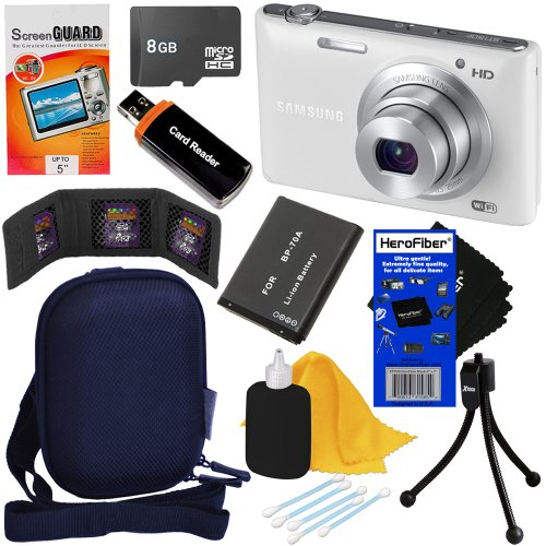 """Samsung St150F 16.2Mp Smart Wi-Fi Digital Camera With 5X Optical Zoom And 3.0"""" Lcd Screen (White) + Bp-70A Battery + 8Pc Bundle 8Gb Accessory Kit W/ Herofiber® Ultra Gentle Cleaning Cloth"""