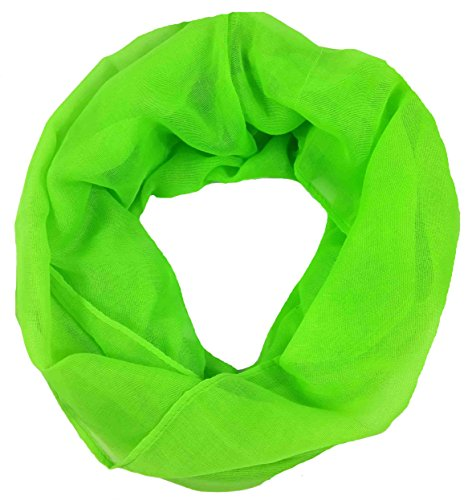 Lina & Lily Plain Color Infinity Loop Scarf Small Size For Spring Fall (Neon Green)