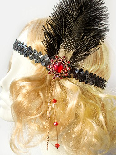 Handcrafted-Flapper-Black-Feather-Headpiece-Red-Accent-Black-Sequin-1920s-Headband