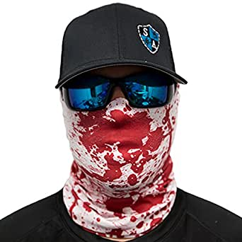 Sa company bloody fishing face shield fits all red white for Sa fishing face shield review