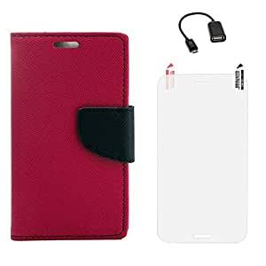 YGS Premium Dairy Wallet Case Cover For Motorola Moto G (1st Generation) -Pink With Screen Guard With Micro OTG