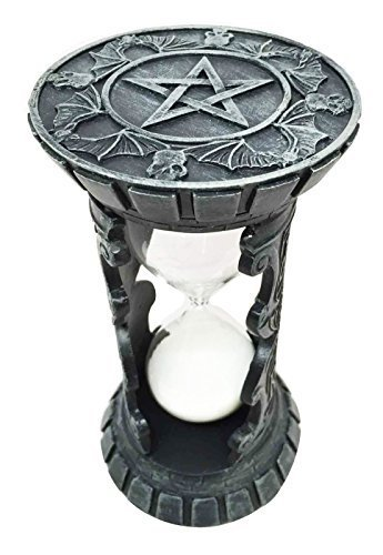 Pentagram Rest In Peace RIP Bat Night Terror Faux Stone Sand Timer Sculpture by Gifts & Decor