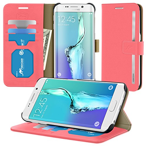 Galaxy S6 Edge Plus Case, roocase [Prestige Folio] Galaxy S6 Edge+ Wallet Case - Synthetic Leather Wallet Case Flip Cover with Credit Card ID Holder for Samsung Galaxy S6 Edge+ (2015), Crimson Rose
