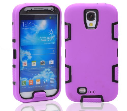 Magicsky Robot Series Hybrid Armored Case For Samsung Galaxy Iiii S4 I9500 - 1 Pack - Retail Packaging - Black/Purple