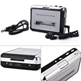 HDE Handheld Portable USB 2.0 Cassette Tape Deck to MP3 Digital Converter with Headphone Earbuds