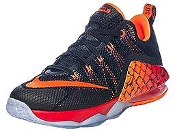 Nike Kid\'s Lebron XII Low GS, BLACK/METALLIC SILVER-TOTAL ORANGE, Youth Size 6