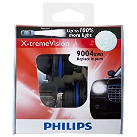 Philips 9004XVS2 X-Treme Vision Headlight Bulb, (Pack of 2)