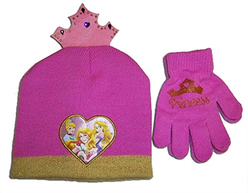 Disney Princess Toddler Girls Knit Beanie Hat and Mitten Set