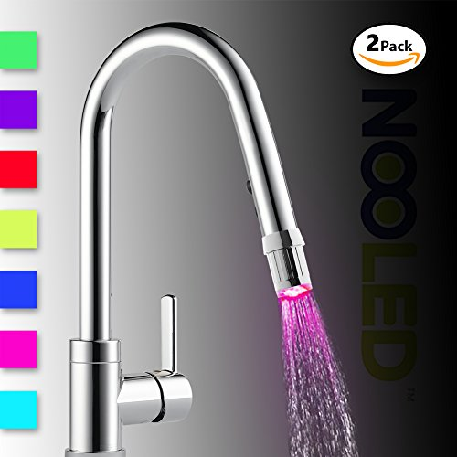 Best Prices! Nooled 2x LED Water Faucet Stream Light 7 Colors Changing Glow Shower Tap Head Kitchen ...