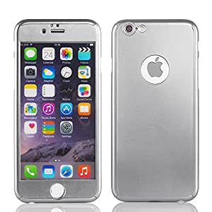 LYouth 2 in 1 Exclusive Design Glossy Protective Cover Case with 0.4mm Tempered Glass Film Screen Protector for iPhone6 4.7 Inch - (Gray)