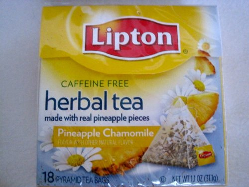 Lipton Herbal Pyramid Tea Bags, Pineapple Chamomile, 18 Count Box (Pack Of 5)