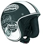 Vega X-380 Open Face Helmet with Old Skool Graphic (Flat Black/Monochrome, Medium)