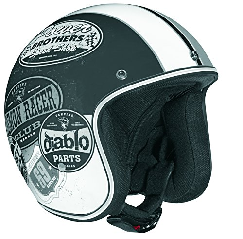 Vega X-380 Open Face Helmet with Old Skool Graphic (Flat Black/Monochrome, Medium) (Open Face Racing compare prices)