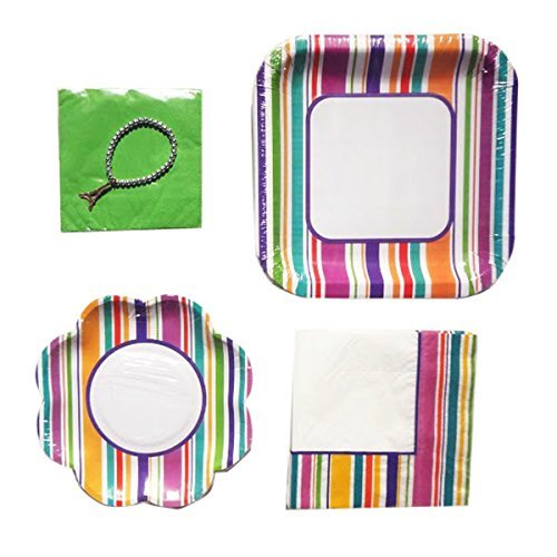 best-stripped-dinner-dessert-paper-plate-set-matching-napkins-top-birthday-party-supplies-set-of-14-