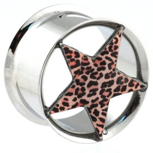 One Stainless Steel Double Flared Eyelet with Leopard Star: 3/4